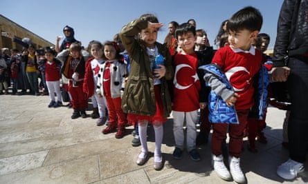 Turkish schoolchildren visit the mausoleum of Mustafa Kemal Atatürk in Ankara.