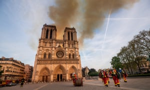 Firefighters battle the blaze at Notre Dame Cathedral in Paris, France.
