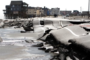 Damage caused by Hurricane Sandy in Rodanthe, North Carolina, October 2012