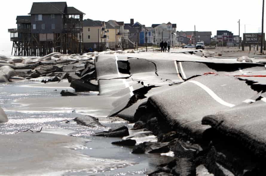 Damage caused by Hurricane Sandy in Rodanthe, North Carolina, October 2012