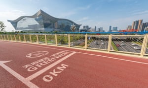 Chengdu greenway track with the New Century Global Center – the world's largest building in terms of floor area – in the background.