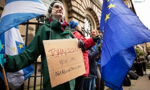 Remain-supporting Brexit protesters outside the court in Edinburgh