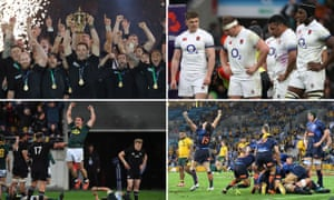 (Clockwise from top left): World champions New Zealand; England after losing to Ireland; Argentina celebrate defeating Australia; South Africa beat the All Blacks.