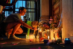 Dayton, Ohio A mourner leaves a candle
