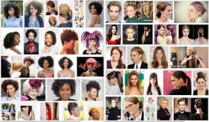 Google image searches for 'unprofessional hair for work' (left) and 'professional hair for work' (right) .