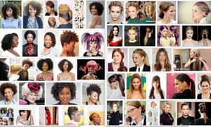 "There results of image searches for ""unprofessional hair for work"" (left) and ""professional hair for work"" (right) on Google."