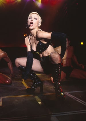 Madonna on stage at Wembley stadium in 1993.