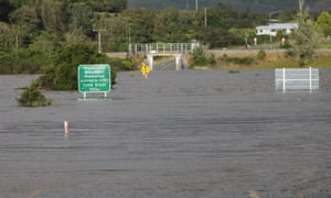 State Highway 7 on the way to Stillwater near Greymouth is blocked by floodwaters after the 'weather bomb' hit the South Island