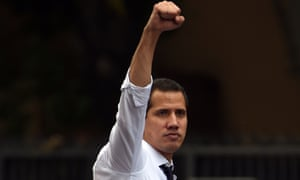 Venezuela's self-proclaimed interim president, Juan Guaidó, at a march against the government on the anniversary of Venezuelan independence.