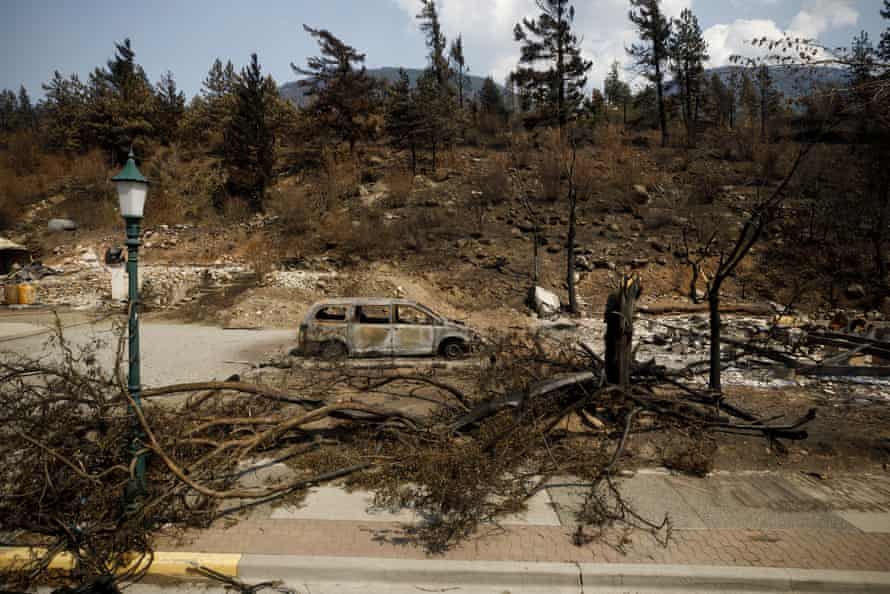 Fire damage in Lytton after a wildfire destroyed most of the village