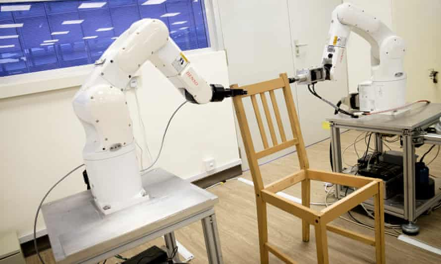 Robots assemble an Ikea chair in Singapore.