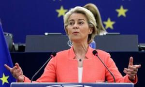 Ursula von der Leyen speaking in Strasbourg on Wednesday.