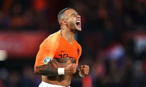 Netherlands' Memphis Depay celebrates scoring his side's third goal in the 3-1 win against Northern Ireland.