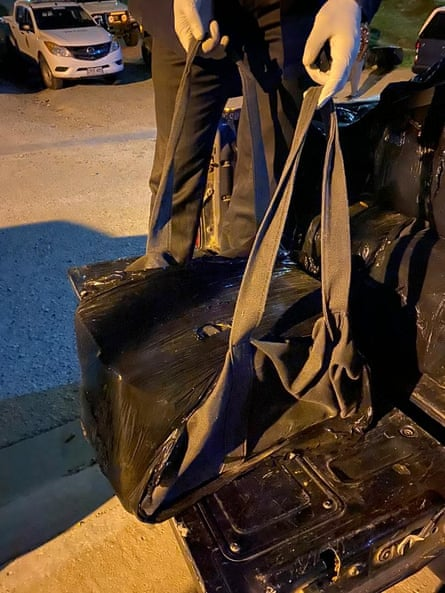 One of 28 bags of cocaine. The operation was uncovered after a light plane crashed at a makeshift airfield at Papa Lealea on the outskirts of Port Moresby
