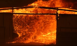 Fire consumes a stable at Tallabrook Lodge