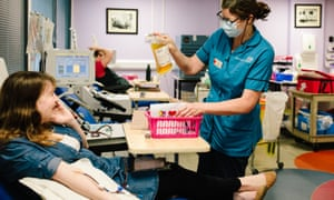 Recovered coronavirus patient Rebecca Mascarenhas donating convalescent plasma at Tooting blood donor centre in London.