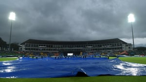 The covers are brought on as the rain comes down.