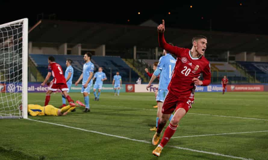 Roland Sallai celebrates scoring in Hungary's 3-0 World Cup qualifying win away to San Marino in March