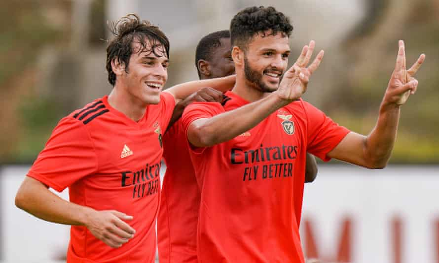 Gonçalo Ramos (right) celebrates with Paulo Bernardo after scoring for Benfica's B team against Casa Pia AC last September.