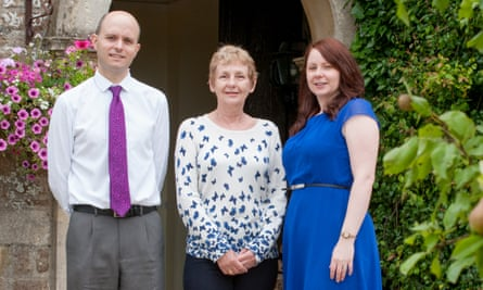 Alix Young (centre) co-owner of The Pear Tree at Purton, with management team Anne and Tim Young.