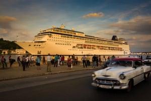 Havana, Cuba A cruise ship leaves the harbour