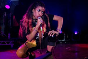 A wild reception … Amy Love of Nova Twins performing at Rockaway Beach festival.
