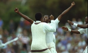 Courtney Walsh celebrates the wicket that carried his West Indies side to their famous victory at Adelaide in 1993.