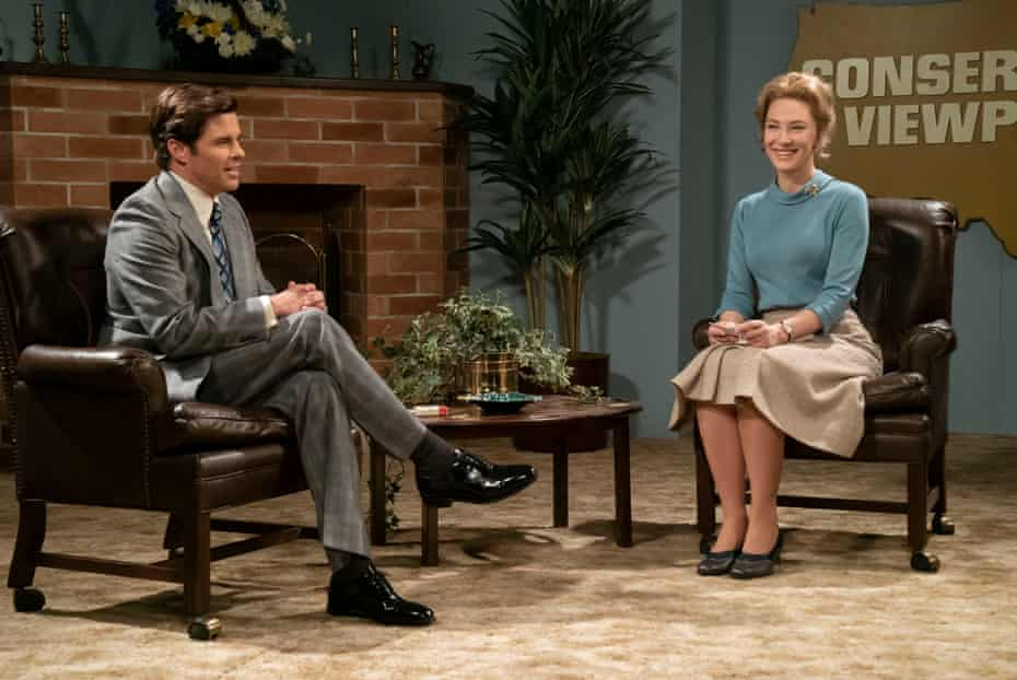Republican Phil Crane (James Marsden) interviewing Schlafly (Blanchett) on US political show Conservative Viewpoint.