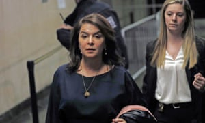 Annabella Sciorra leaves Manhattan Criminal Court after appearing at Harvey Weinstein's rape trial on 23 January.