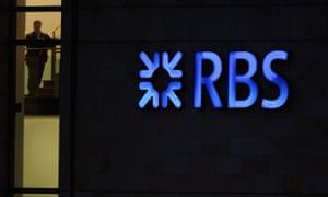 RBS sign at Royal Bank of Scotland HQ in Edinburgh.