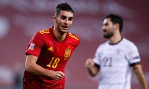 Ferran Torres celebrates Spain's fifth goal.