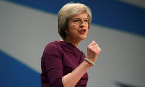 Theresa May delivers her Conservative party conference speech in which she said 'if you believe you are a citizen of the world, you're a citizen of nowhere'.