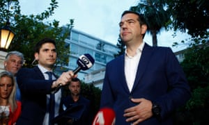 The Greek prime minister, Alexis Tsipras, talks to the media after an extraordinary meeting on developments in the eastern Mediterranean.