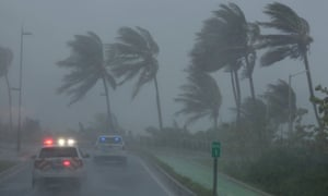 Police on patrol in San Juan, Puerto Rico on Wednesday during Irma.