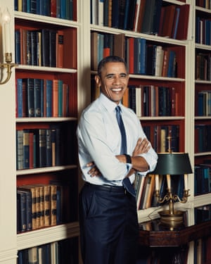 Barack Obama photographed in the White House Library