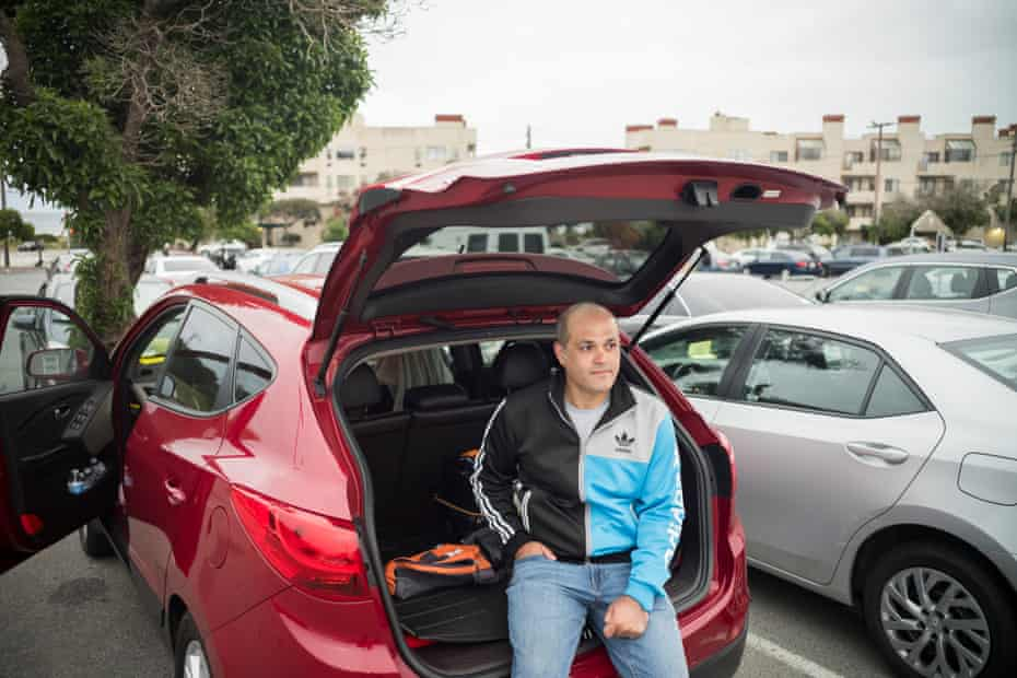 Dais Jalal is one of a growing group of Uber drivers in San Francisco who sleep in their cars to avoid commuting long distances.
