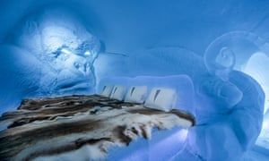 An interior shot of King Kong suite in the Ice Hotel