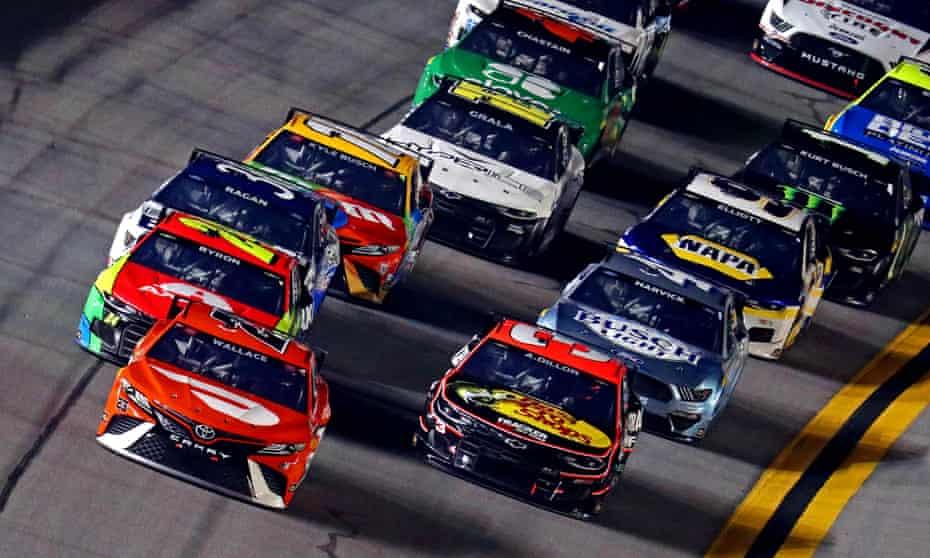 Bubba Wallace's No 23 car leads the field during Sunday's Daytona 500