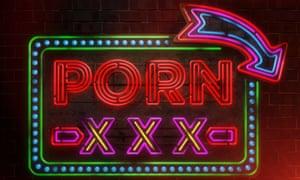 Neon sign advertising pornography.