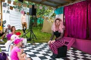 Drag storytime at Po Po Mo Co's Comedy Campervan.
