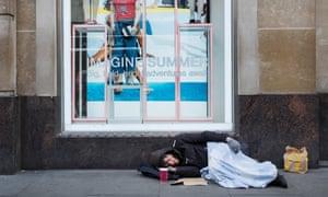A homeless man on Oxford Street, London