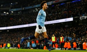 Manchester City's Leroy Sane celebrates scoring their second goal to restore their lead.