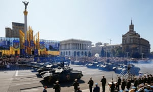 Tanks pass during a military parade marking Ukraine's Independence Day in Kiev, Ukraine, on 24 August 2018.
