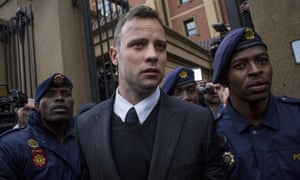 Oscar Pistorius leaves court in Pretoria after a hearing in 2014.