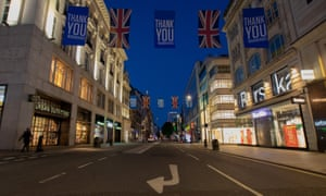 A view of Oxford Street at night and NHS Thankyou Flags on 21 June 2020 in London, United Kingdom.