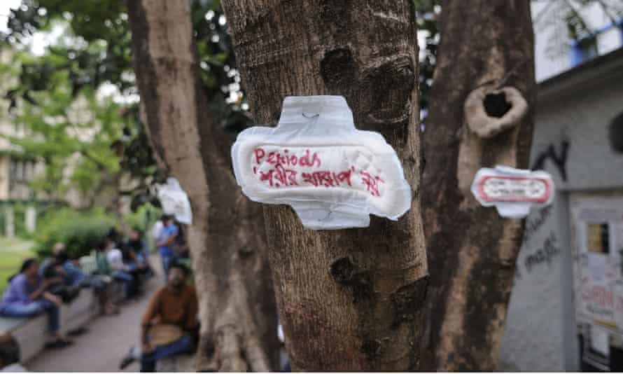 A sanitary towel with the message 'menstruation is not an illness', as part of a protest in Kolkata, India.