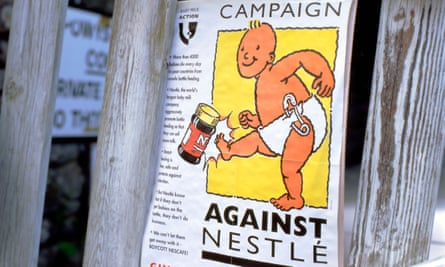 A boycott campaign poster against Nestlé baby milk products at the Hay festiva, 2002.