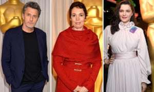 In the shadow of of the statue … Cold War director Paweł Pawlikowski and stars of The Favourite, Olivia Colman and Rachel Weisz.