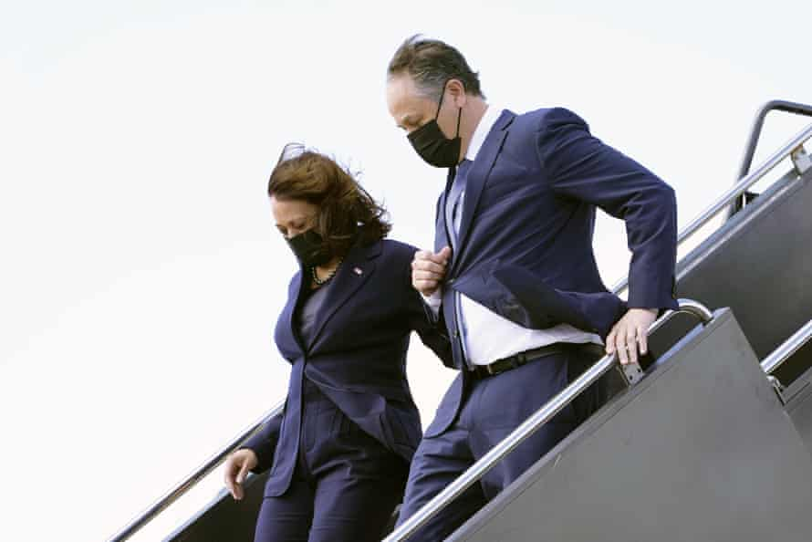Kamala Harris and Emhoff, arrive in Las Vegas on 15 March.