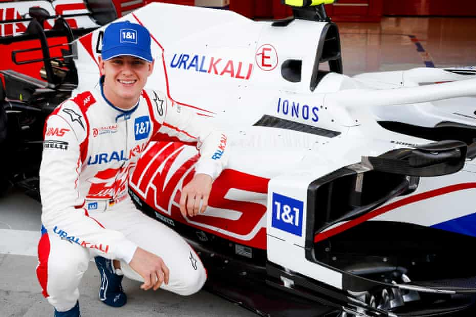 Mick Schumacher with the 2021 Haas car